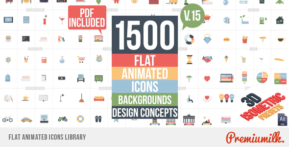 VIDEOHIVE FLAT ANIMATED ICONS LIBRARY - Free After Effects
