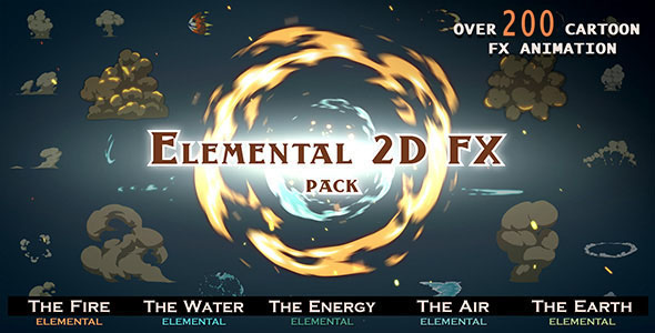 VIDEOHIVE ELEMENTAL 2D FX PACK [200 ELEMENTS] - MOTION