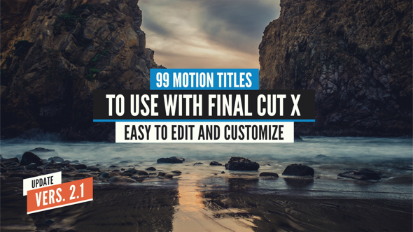 VIDEOHIVE 99 FINAL CUT X TITLES PACK - APPLE MOTION