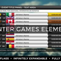 VIDEOHIVE 2018 WINTER GAMES ELEMENTS – MEDAL TRACKER & EVENT RESULTS – PYEONGCHANG