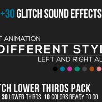 VIDEOHIVE FLAT GLITCH LOWER THIRDS + 30 GLITCH SOUND EFFECTS