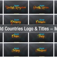 VIDEOHIVE 201 WORLD COUNTRIES LOGO & TITLES – MEGA PACK