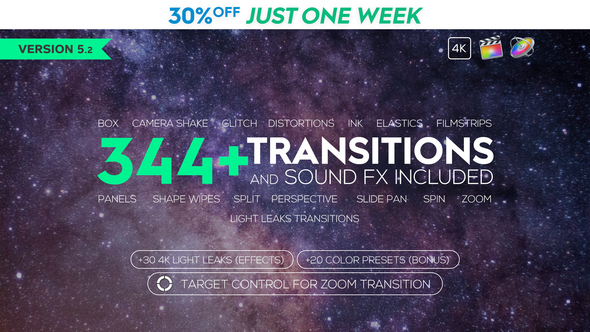 VIDEOHIVE FCPX 344+ TRANSITIONS AND SOUND FX - Free After Effects