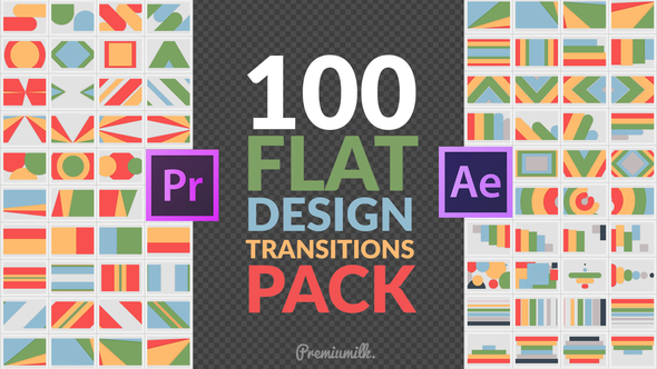 VIDEOHIVE FLAT DESIGN TRANSITIONS PACK | MOGRT - PREMIERE PRO - Free