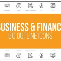 VIDEOHIVE BUSINESS AND FINANCE – 50 THIN LINE ICONS