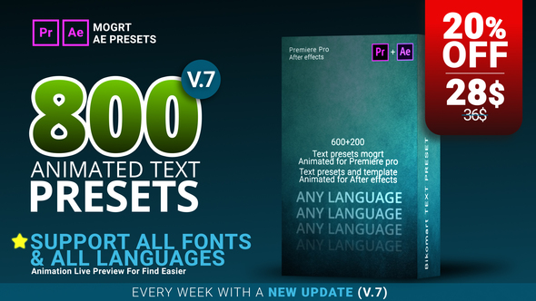 VIDEOHIVE 800 TEXT PRESETS FOR PREMIERE PRO MOGRT & AFTER EFFECTS