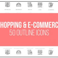 VIDEOHIVE SHOPPING AND ECOMMERCE – 50 THIN LINE ICONS