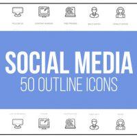 VIDEOHIVE SOCIAL MEDIA – 50 THIN LINE ICONS