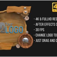 VIDEOHIVE WOODEN LOGO (AFTERFX)