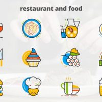 VIDEOHIVE RESTAURANT AND FOOD – FLAT ANIMATED ICONS