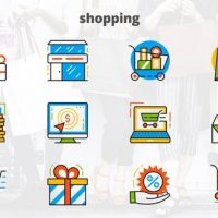 VIDEOHIVE SHOPPING – FLAT ANIMATED ICONS