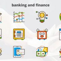 VIDEOHIVE BANKING AND FINANCE – FLAT ANIMATED ICONS