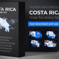 VIDEOHIVE COSTA RICA ANIMATED MAP – REPUBLIC OF COSTA RICA MAP KIT