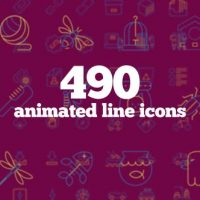 VIDEOHIVE 490 ANIMATED LINE ICONS